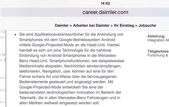 Daimler Google Projected Mode