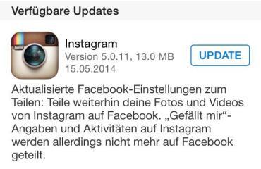 instagram ios update