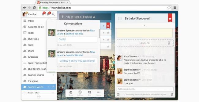 Wunderlist Chrome Screenshot