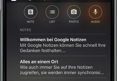 google notizen keep ios widget