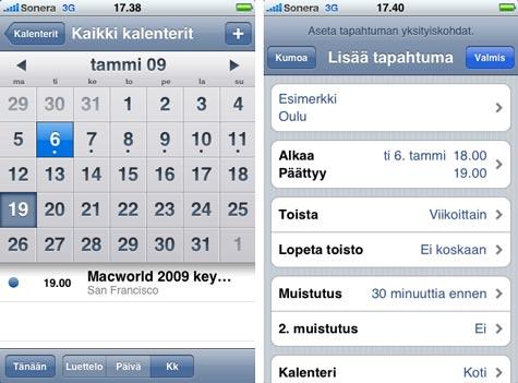 iPhone 3G kalenteri