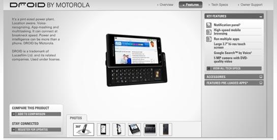 Motorola Droid web