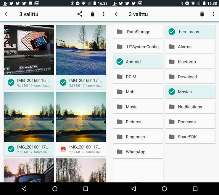 Android 7.0, tiedostonhallinta