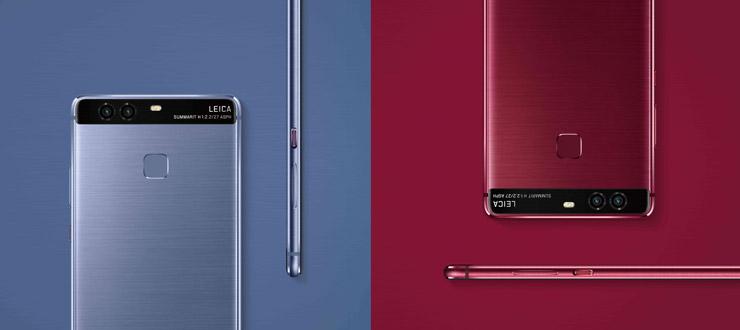 Huawei P9, sininen ja punainen