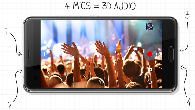 HTC U Ultra, mikrofonit