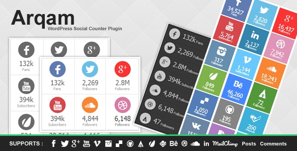 Arqam – Retina Responsive WP Social Counter Plugin