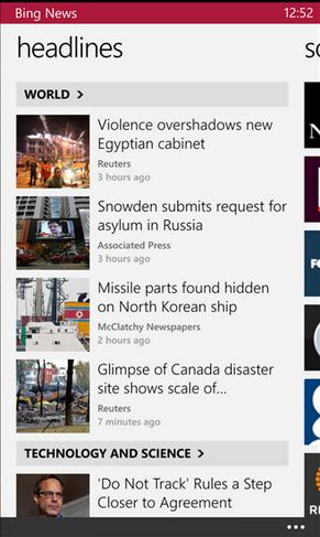 Bing News for Windows Phone