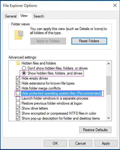 Display Hidden Files