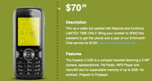 Huawei U1250 bargin phone from Wind Mobile