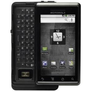Motorola Droid encased in an Otterbox protective case