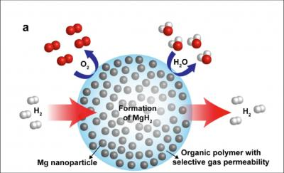 This schematic shows high-capacity magnesium nanocrystals encapsulated in a gas-barrier polymer matrix to create a new and revolutionary hydrogen storage composite material. Credit: Image from Jeff Urban