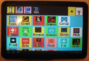 A tablet with lexigrams from the Bonobo Chat app