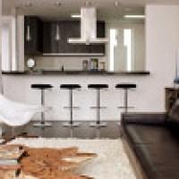 Uma cozinha americana pequena para espaços reduzidos