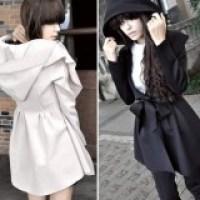 Casaco longo feminino com cinto - moda inverno chic