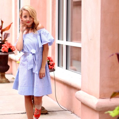DENIM OFF THE SHOULDER SUMMER DRESS