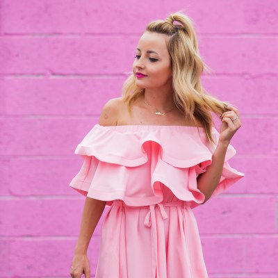 BLUSH PINK OFF SHOULDER DRESS