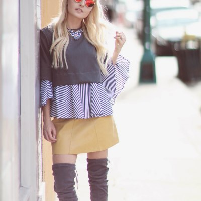 OVER THE KNEE GREY BOOTS