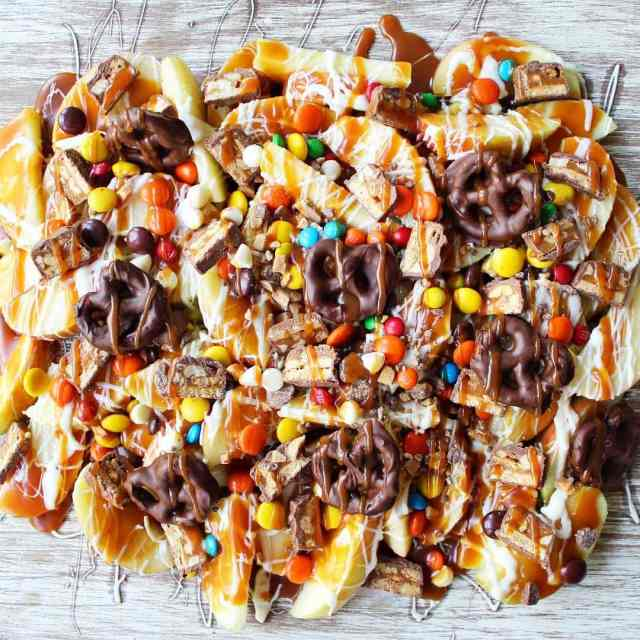 Candy Madness Caramel Apple Nachos are the perfect Halloween treathellip