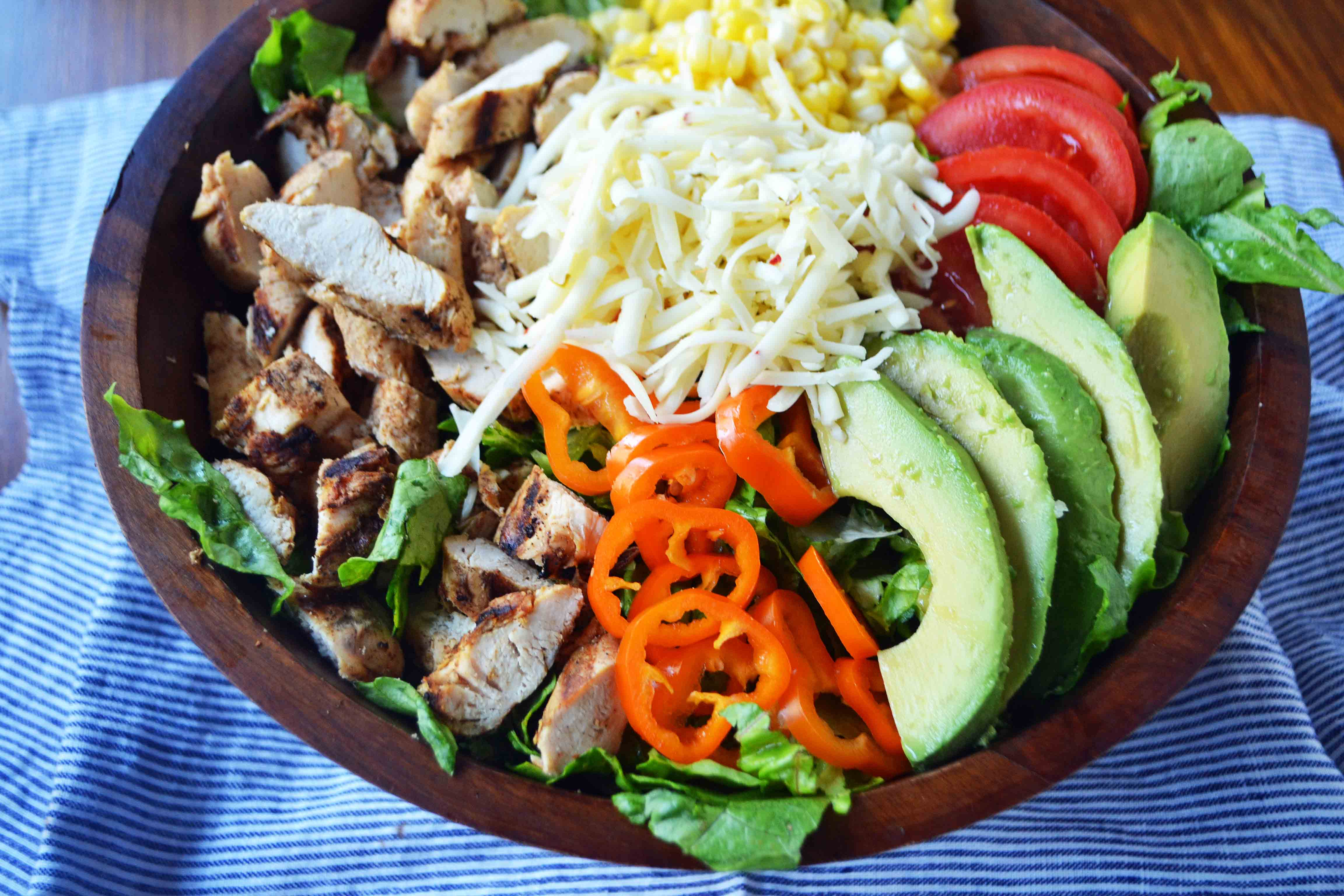 Southwestern Chicken Chopped Salad with Cilantro Lime Ranch by Modern Honey l www.mdoernhoney.com