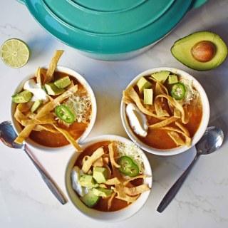 Chicken Tortilla Soup by Modern Honey. The perfect chicken tortilla soup made from scratch.