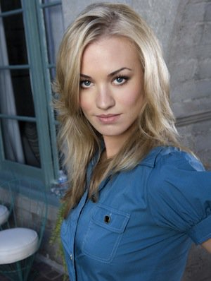 Yvonne Strahovski in blue shirt