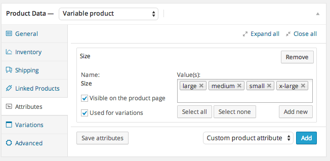 WooCommerce Attributes Variable Product