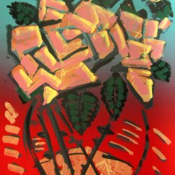 Artist: Frank Romero Title: Floral Medium: Serigraph Colors: 5, Hand Pulled, Hand Painted Substrate: Coventry Rag 320 g/sm Size: 20″ x 31″ Signed and Numbered Edition: 5 Printer's Proofs