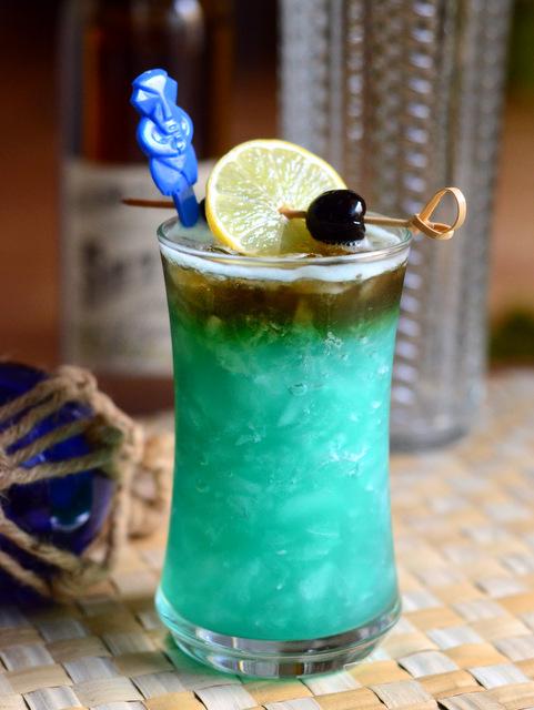 Blue Bird Cocktail, a Jungle Bird variation.