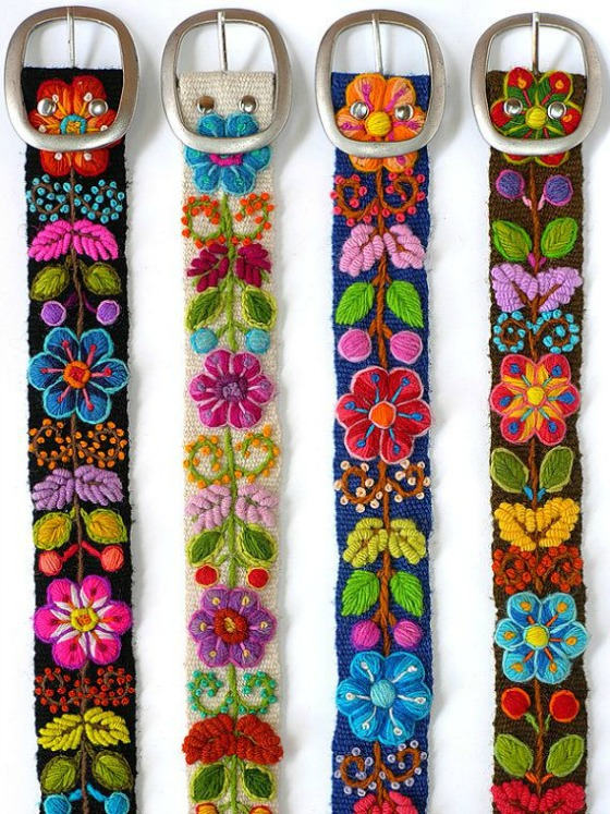 modflowers: embroidered Peruvian belts
