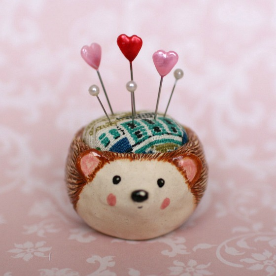 modflowers: pining for pincushions - hedgehog pincushion by dolly darling