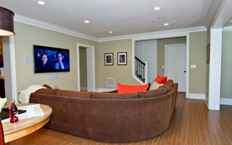 Basement with playpen sofa