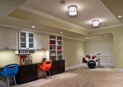 Study room with drum set.