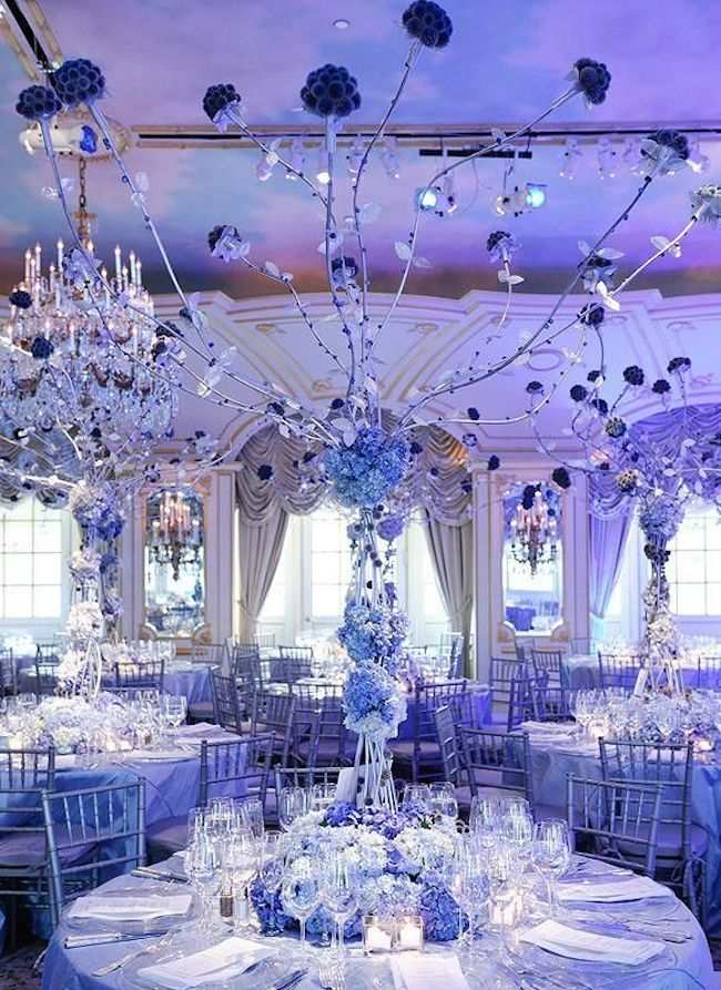 blue wedding decoration ideas. Featured Centerpiece  Preston Bailey blue wedding centerpiece Elegant Shades Of Blue Wedding Ideas crazyforus