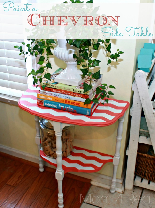 paint a chevron side table with mom 4 real chevron painted furniture