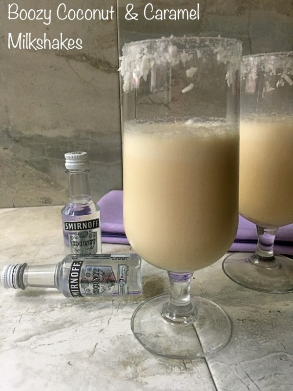 Boozy Coconut Caramel Milkshakes