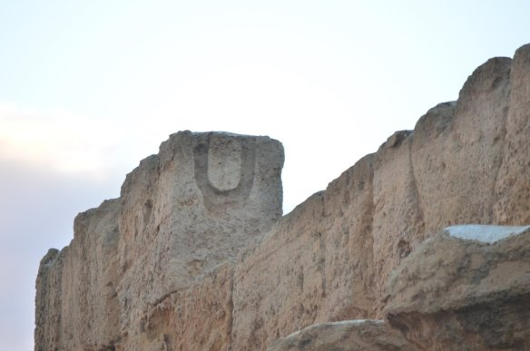 """The """"u"""" shows where the rope would have been inserted to lift the huge rocks."""