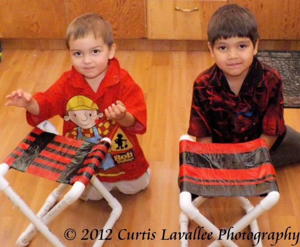 boys with pvc camp stools