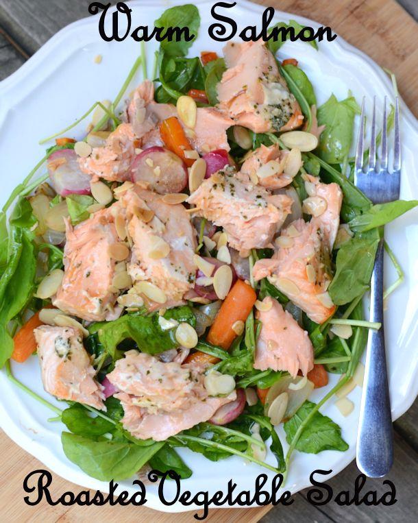 warm salmon roasted vegetable salad recipe