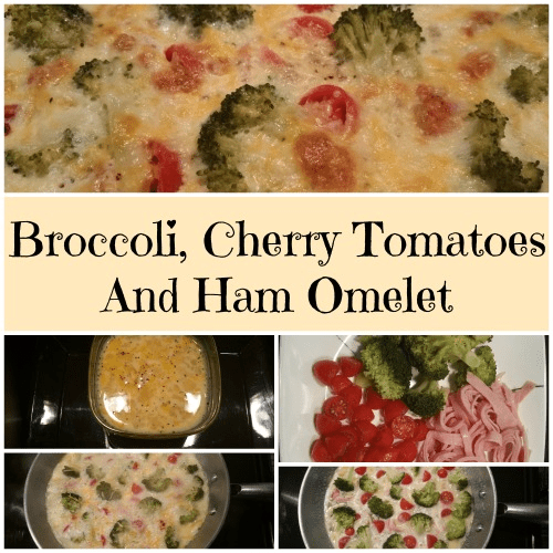 Broccoli, Cherry Tomatoes And Ham Omelet
