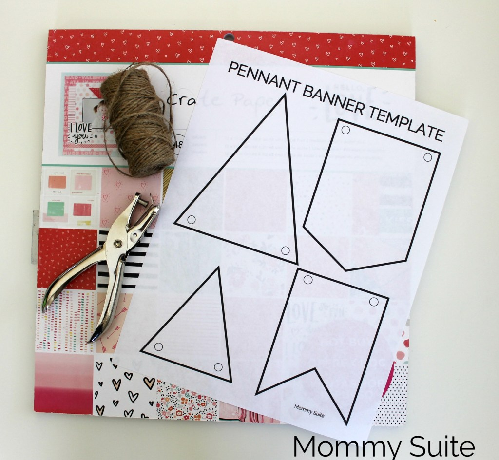 diy paper pennant banner w free template mommy suite. Black Bedroom Furniture Sets. Home Design Ideas