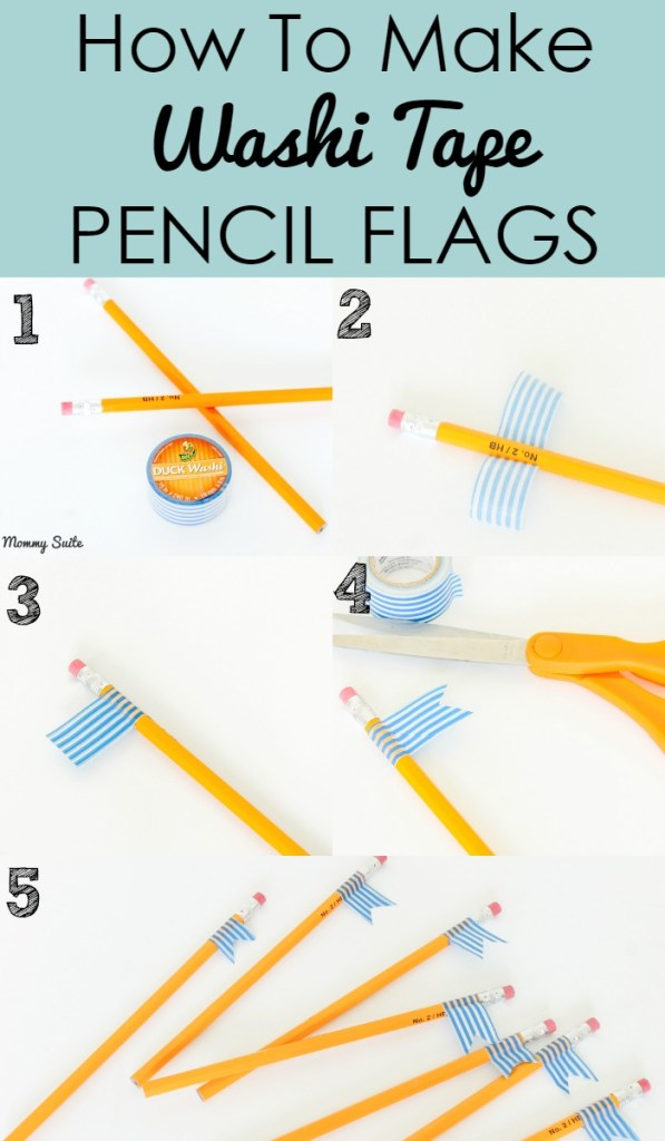Washi Tape Pencil Flags