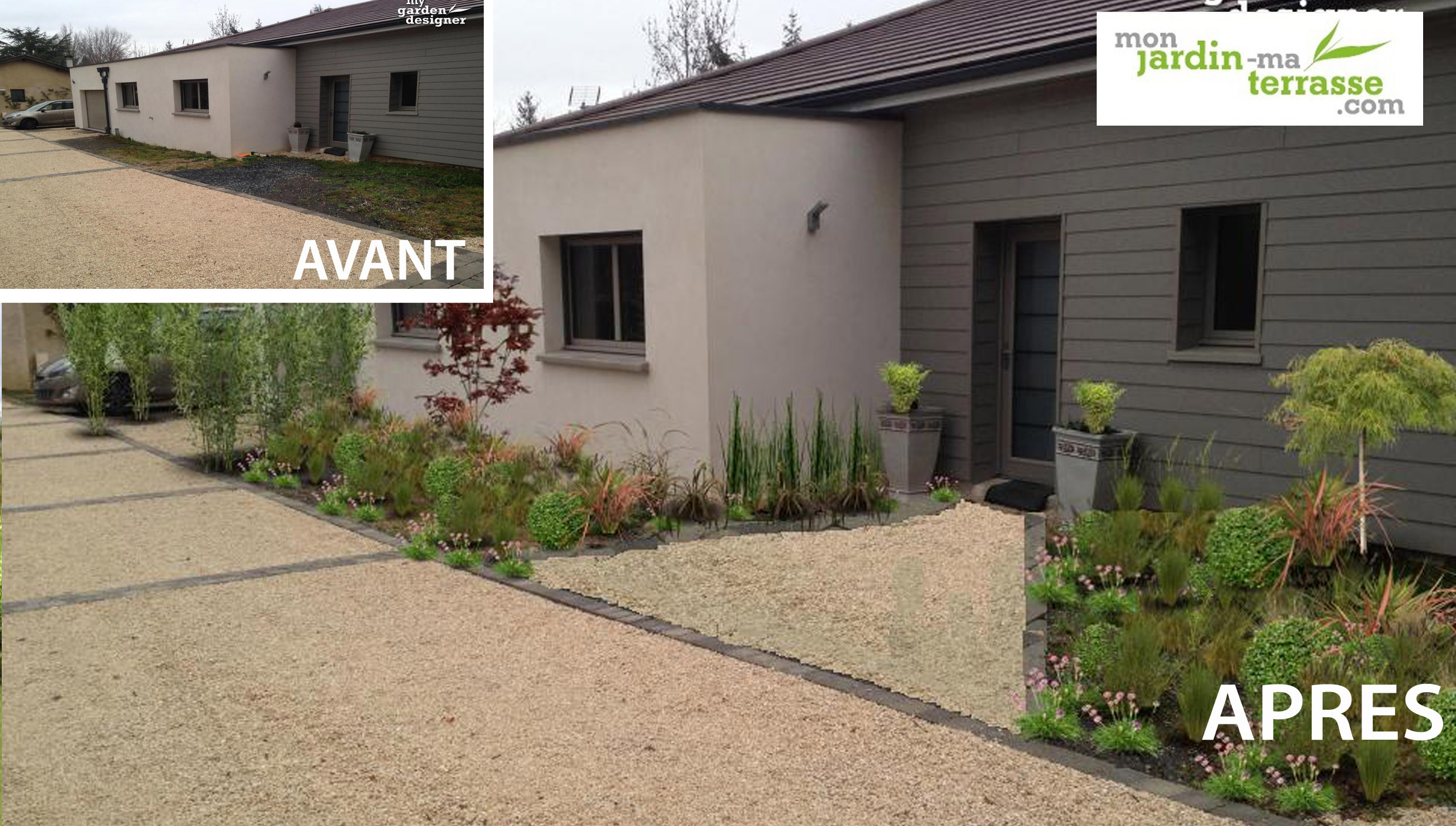 Am nagement du jardin de l entr e d une maison contemporaine monjardin - Amenagement de jardin ...