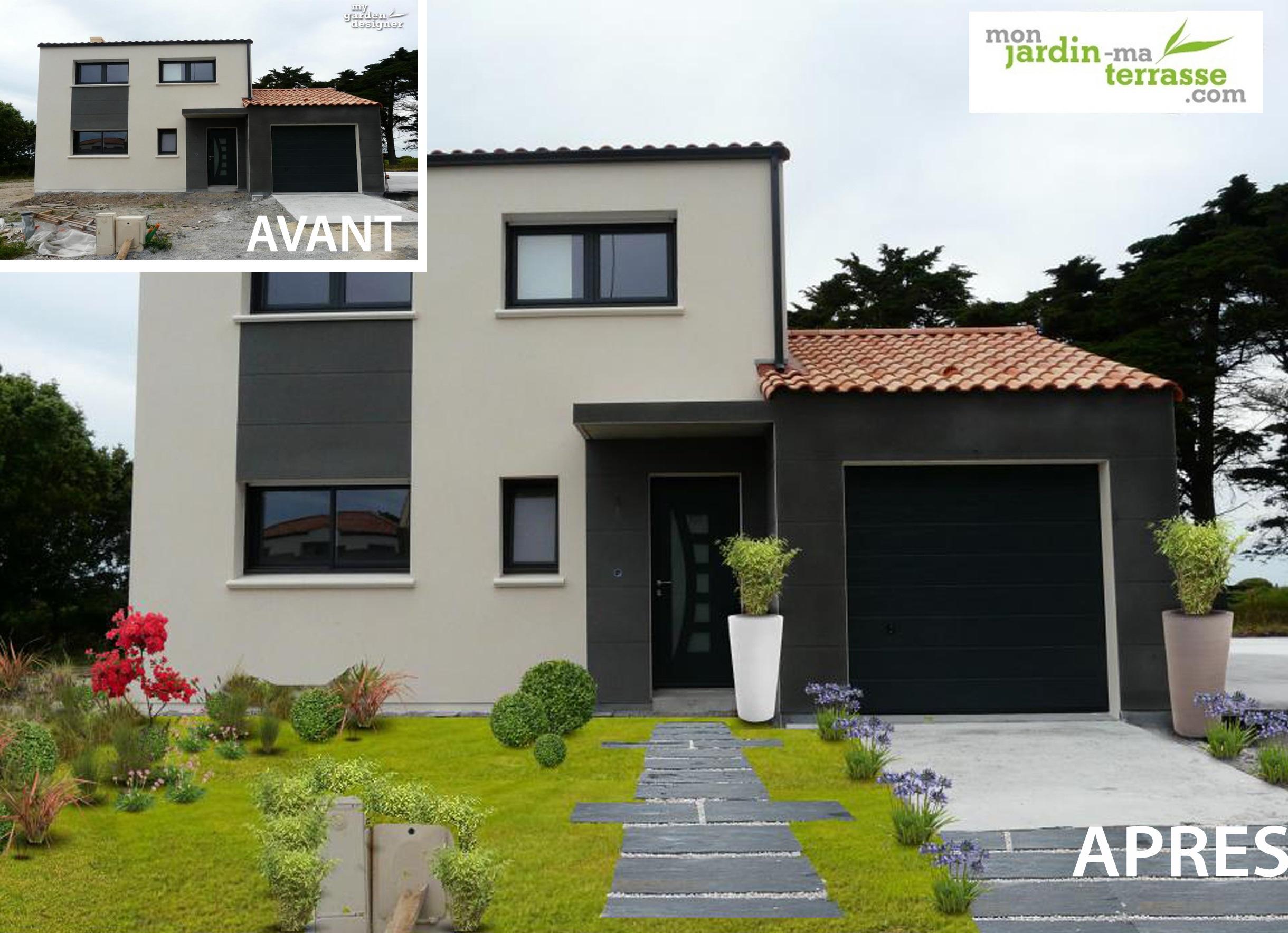 Aménager une entrée de maison moderne | monjardin-materrasse.com - Photo De Maison Moderne