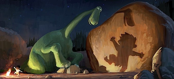 """Arlo, a 70-foot-tall teenage Apatosaurus, befriends a young human boy named Spot in Disney•Pixar's """"The Good Dinosaur""""—in theaters November 25, 2015. ©2013 Disney•Pixar.  All Rights Reserved."""