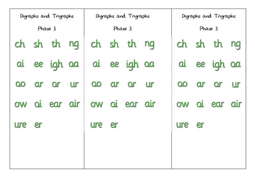 Digraph and Trigraph grapheme card