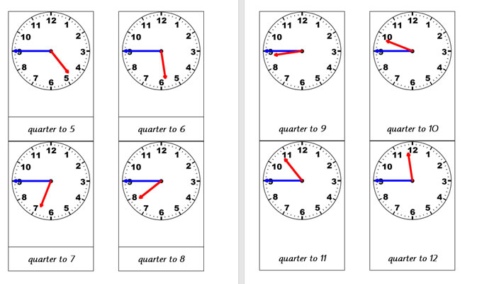 Analogue Clocks (Quarter to)