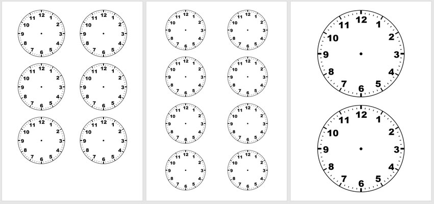 Blank Clock faces 2/6/8 per page
