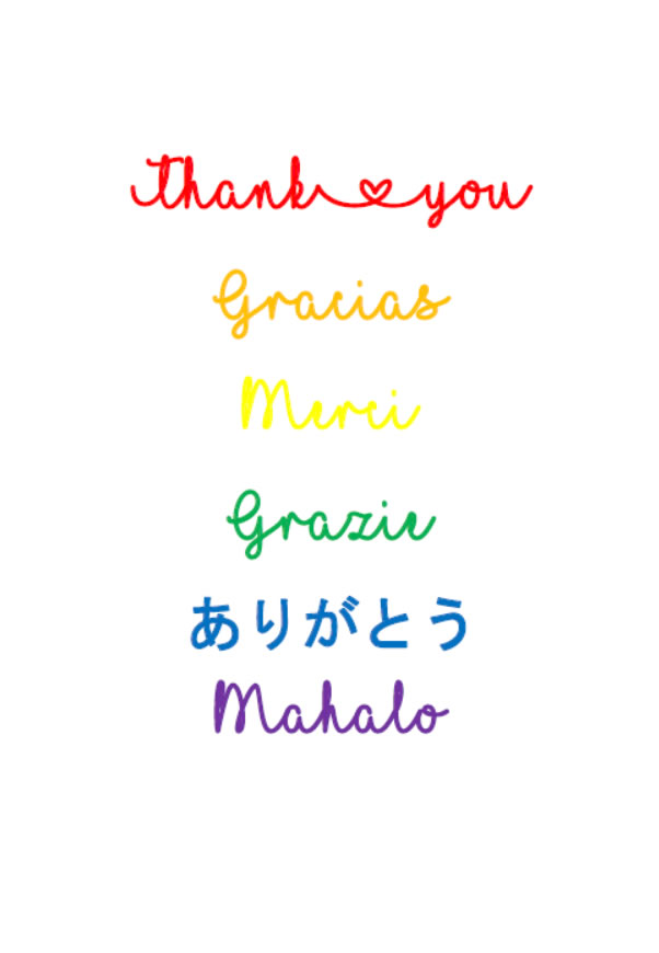 Thank you cards - Languages