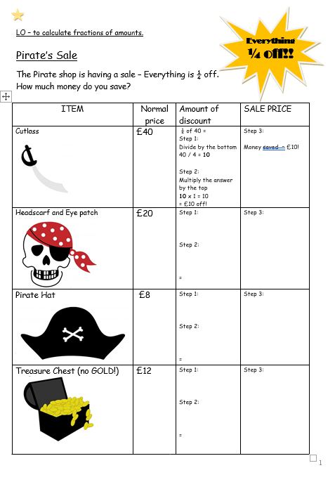 Pirate sale fraction challenge