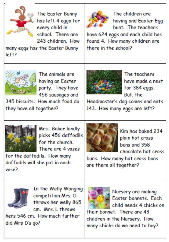 Easter themed maths word problems